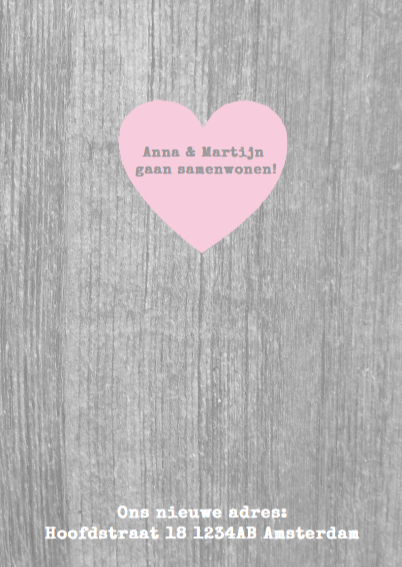 Samenwonen kaart hout tekst foto roze  3