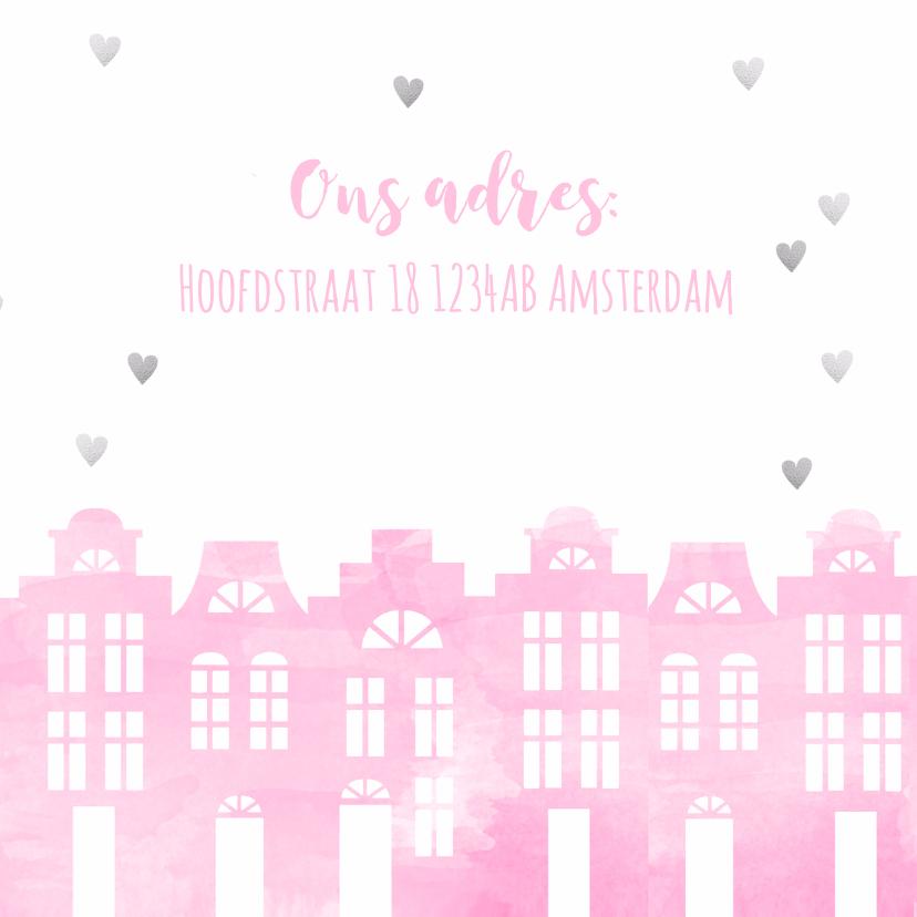 Samenwonen kaart huisjes roze aquarel en hartjes 3