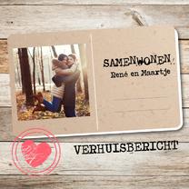 Samenwonen kaarten - Samenwonen postcard hout