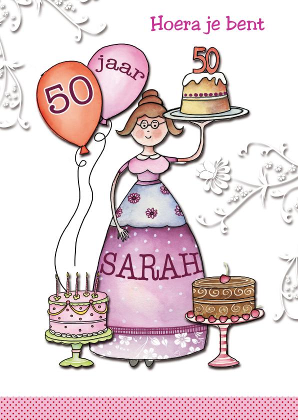Geliefde Sarah 50 jaar met taarten - Verjaardagskaarten - Kaartje2go LV14