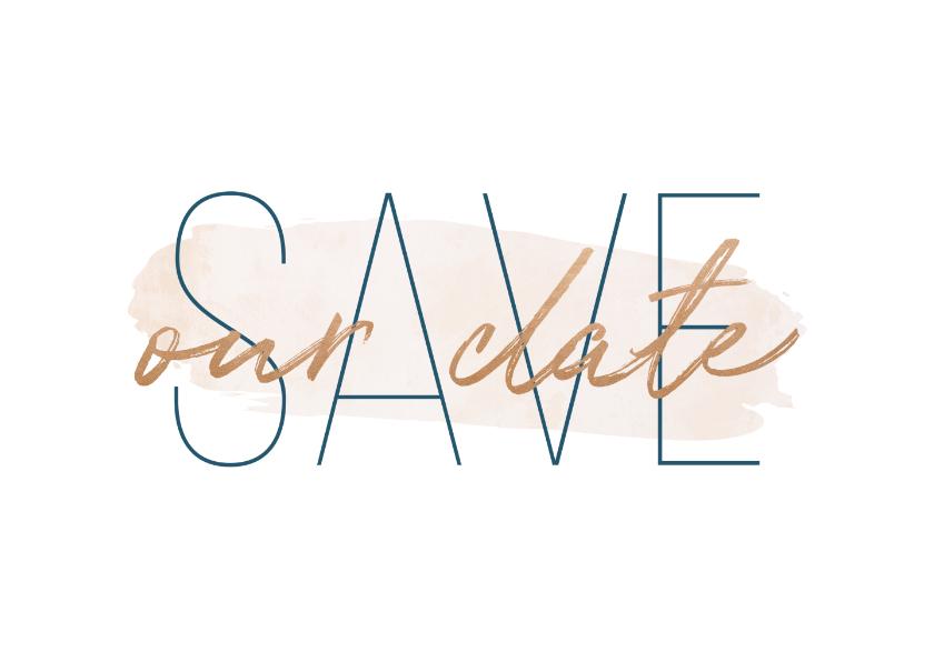 Save our date kaart met goudlook en waterverf 2