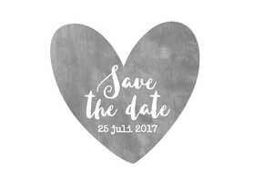 Trouwkaarten - Save The Date aquarel grijs