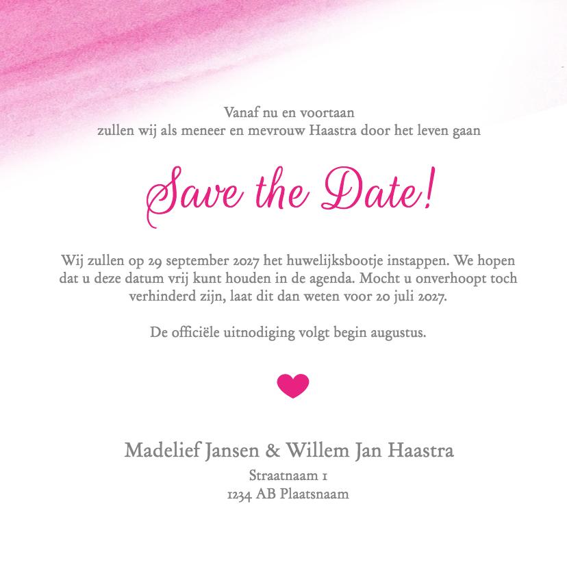 Save the Date aquarel roze - DH 3