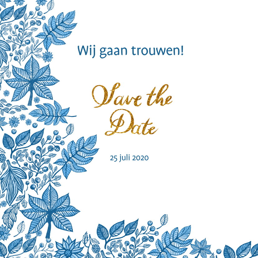Save the date blauwe bladeren 2