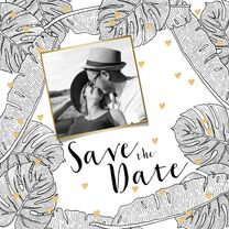 Trouwkaarten - Save the date botanical foto zwart-wit