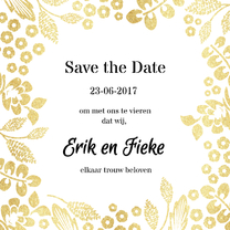 Trouwkaarten - Save the date botanicalgold - SV