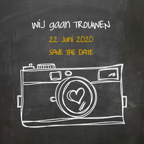 Trouwkaarten - Save the Date Camera Hart SG
