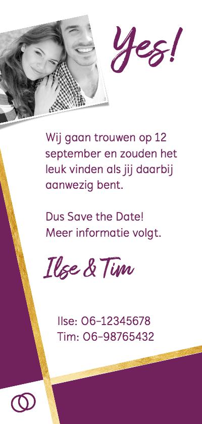 Save the date foto met paars en goud achterkant