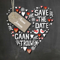 Trouwkaarten - Save The Date handlettering hart
