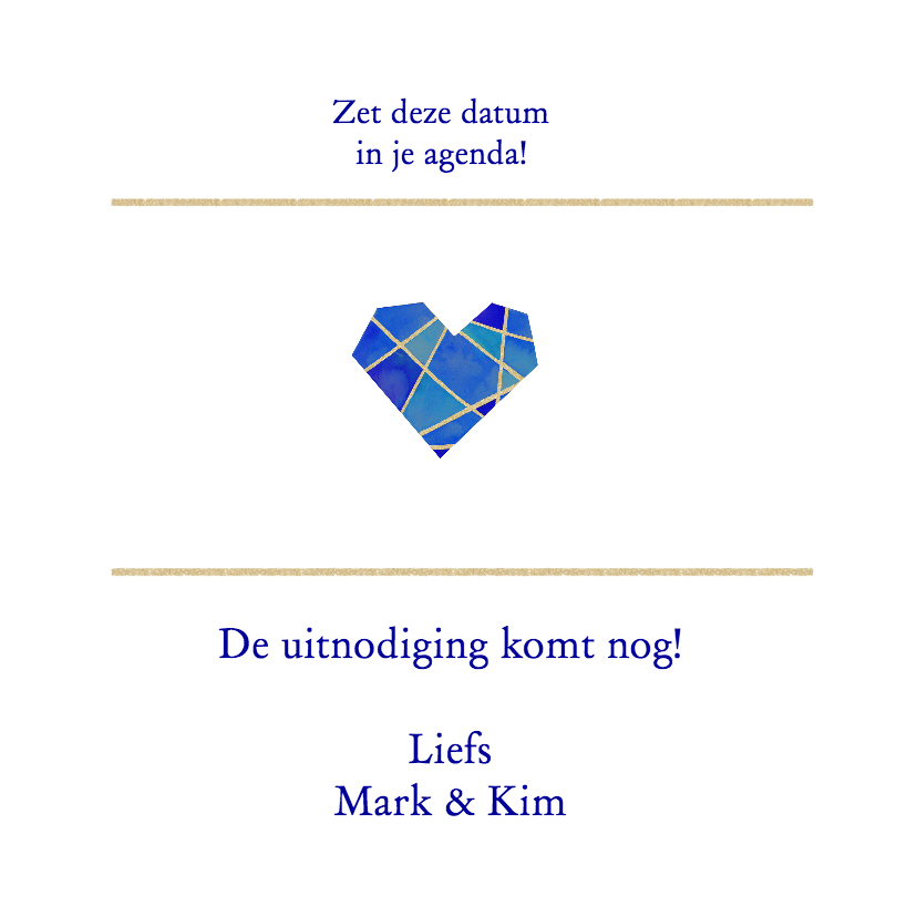 Save the date hart blauw 3