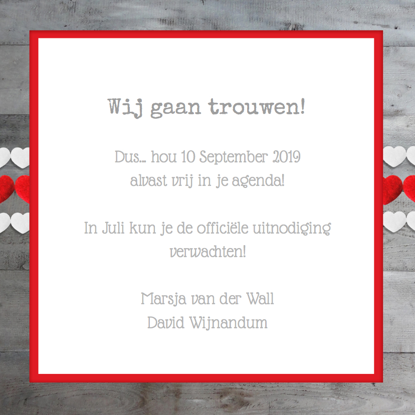 Save the Date Hout Hart Foto 3