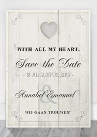 Trouwkaarten - Save the Date Houten Tekstbord