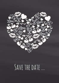 Save the date iconenhart krijt