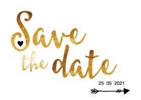 Trouwkaarten - Save the date in gouden letters