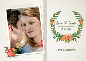 Trouwkaarten - Save the Date kaart Foto Krans