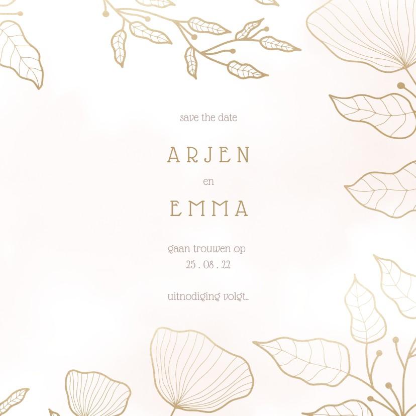 Save the date kaart met elegante bloemen en waterverf 3