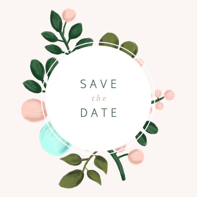 Save the date kaart met geschilderde takken en kader 2