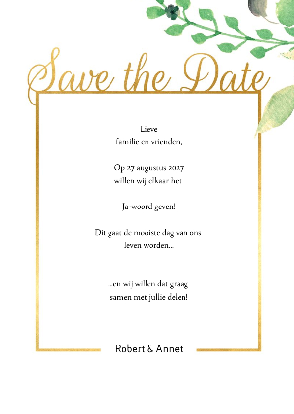 Save the Date kaart Stijlvol wit met goud 3