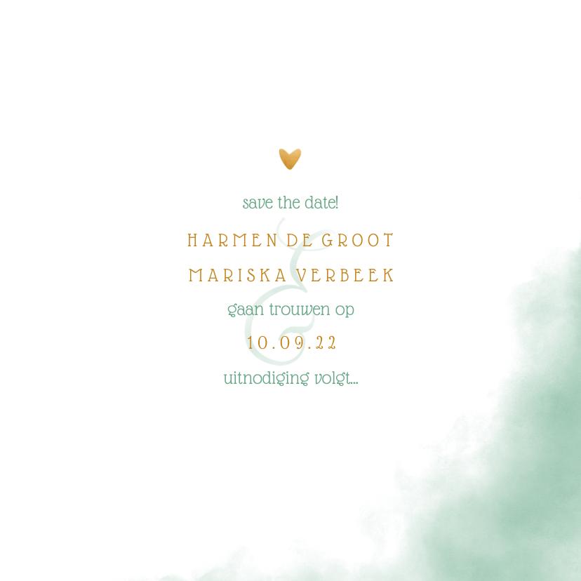 Save the date kaart 'YES' met waterverf en gouden hartjes 3