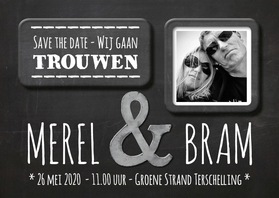Trouwkaarten - Save the Date krijtbord- SG