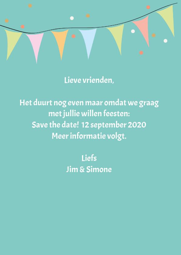 Save the date met drank en namen 3