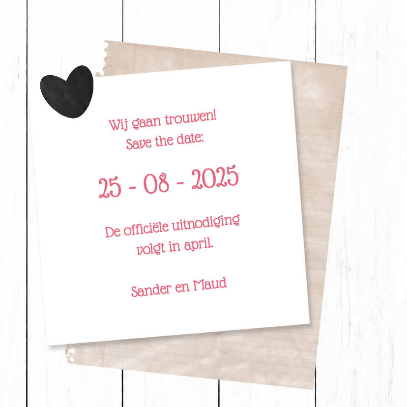 Save the date met hout - DH 3