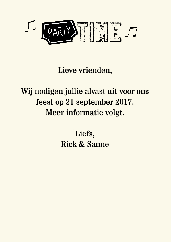 Save the date party time muziek 3
