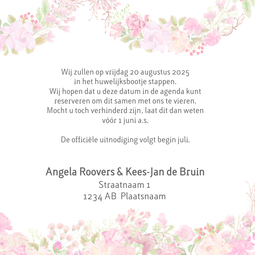 Save the date rozen pastel 3