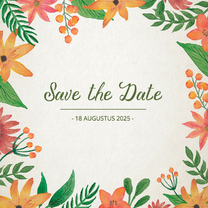 Trouwkaarten - Save the Date Vintage Bloemen