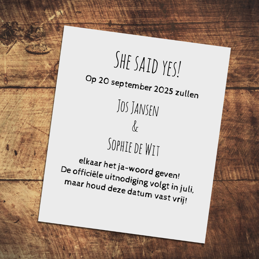 Save the date wood - DH 3