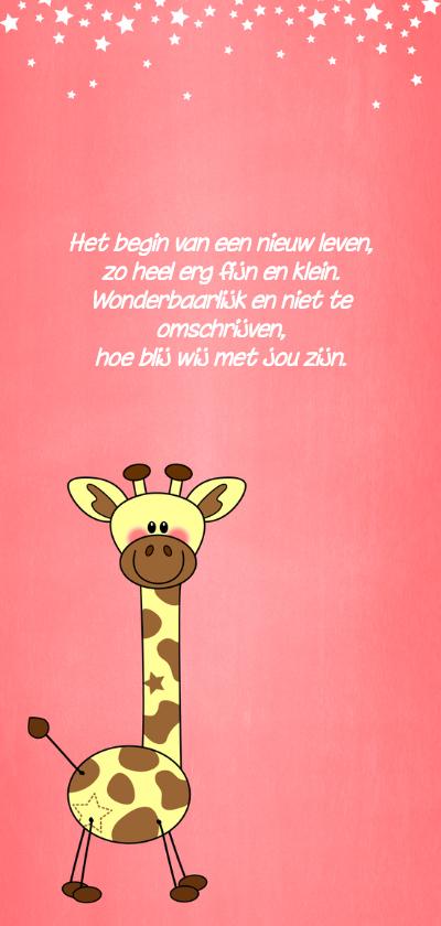 Schattig geboortekaartje meisje met girafje 2