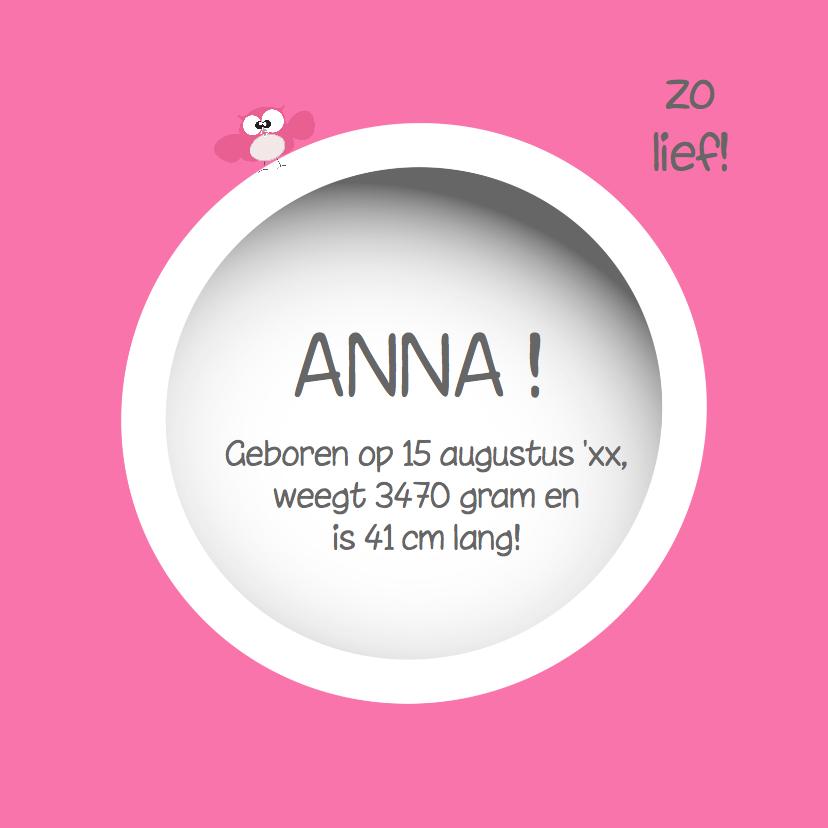 Schattige geboortekaart  met cirkels en uiltjes van Mo Cards 3