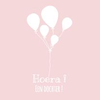 Felicitatiekaarten - Silhouet felicitatiekaart geboorte meisje