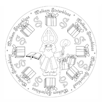 Sinterklaaskaarten - Sint Kleurplaat rond - AW