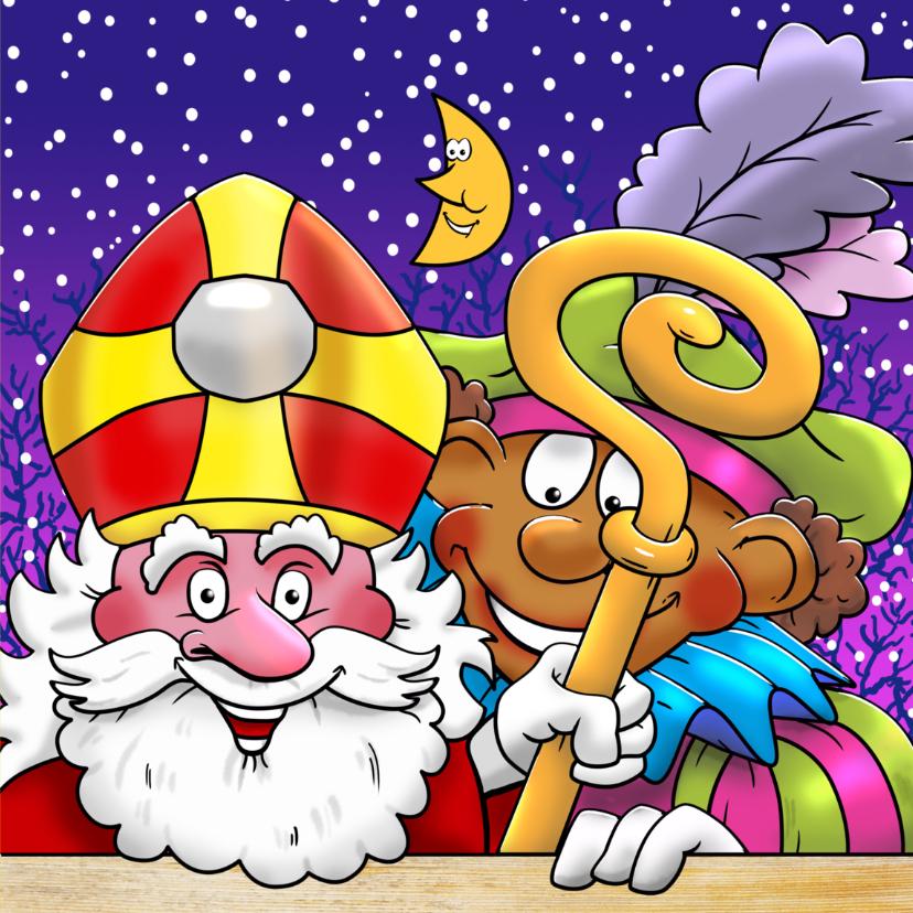 Sinterklaaskaart Sint en Piet op het dak - HE 3