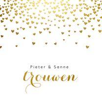 Trouwkaarten - Sjieke trouwkaart gouden hartjes