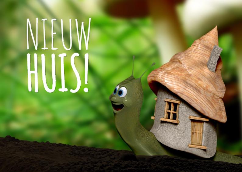 Slakje met nieuw huis verhuiskaart verhuiskaarten kaartje2go - Nieuw huis ...
