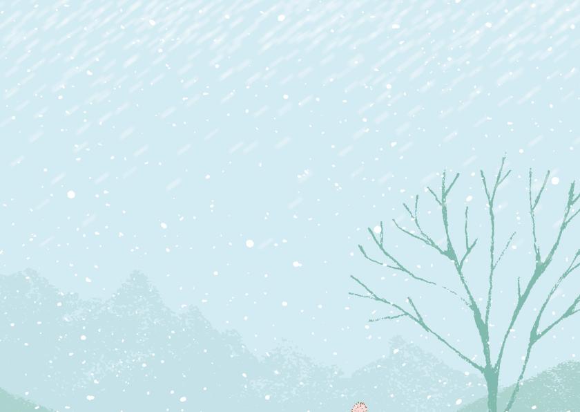 Sneeuwlandschap meisje/jongen met hond 2