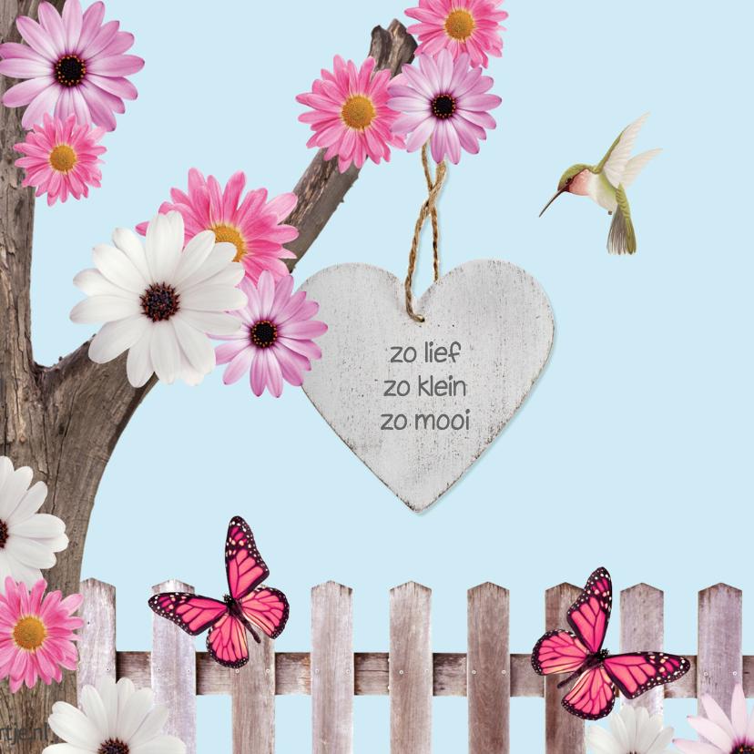 Sprookjes geboortekaartje met vlinders 2