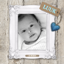 Geboortekaartjes - Steigerhout Fotolijst Jongen