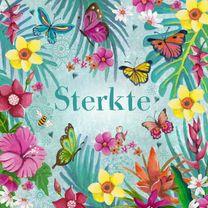 Sterkte kaarten - Sterkte Bloemen VLINDERS tropisch blauw