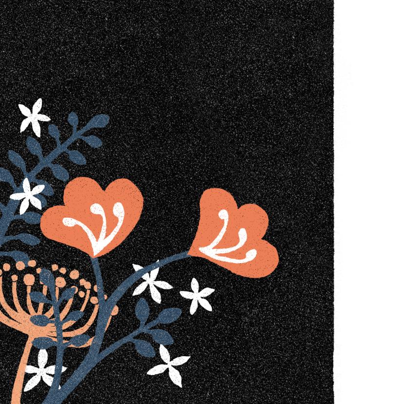 Sterkte kaartje bloemen blauw zwart abstract 2