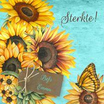 Sterkte kaarten - Sterkte zonnebloemen label