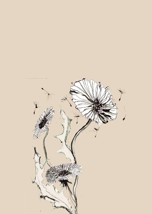 Sterktekaart inkt bloem 2