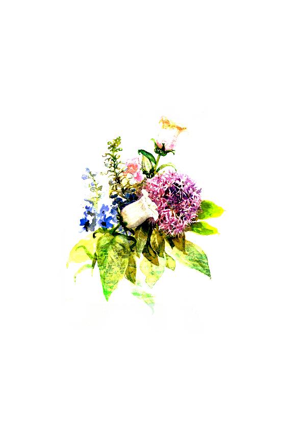Sterktekaart met bos bloemen met stippen 2