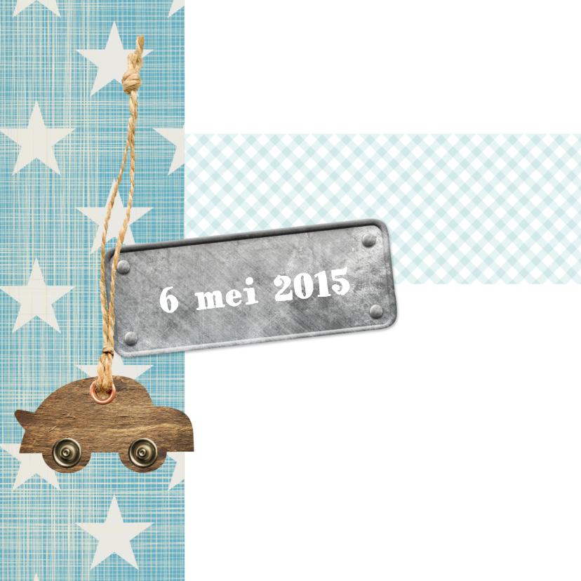 Sterren label auto geboortekaart 2