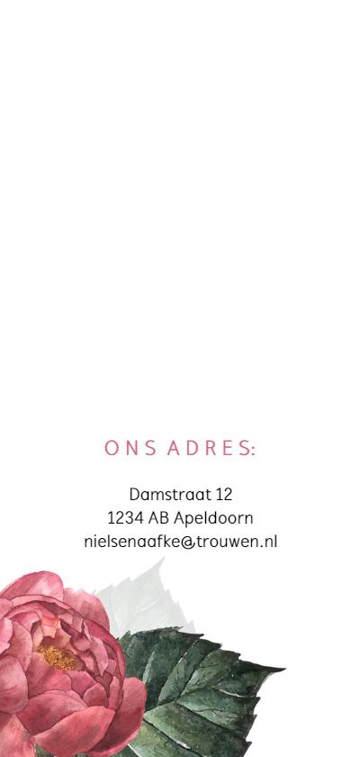 Stijlvolle trouwkaart met roze pioenroos 2