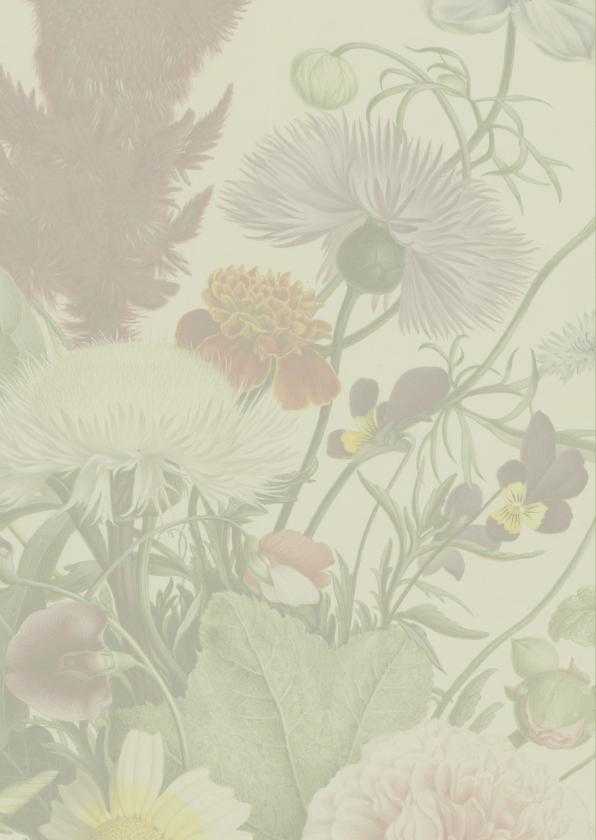 Stijlvolle trouwkaart met vintage bloemen. 2