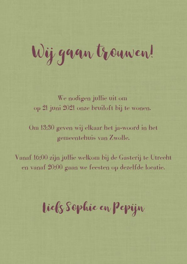 Stijlvolle trouwkaart met vintage bloemen. 3