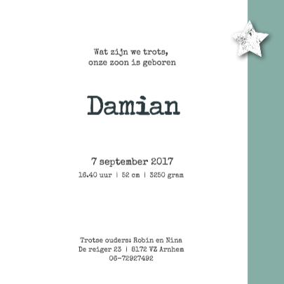 Stipt geboortekaartje Damian 3